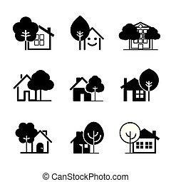 セット, illustration., 家, ベクトル, 黒, icon.