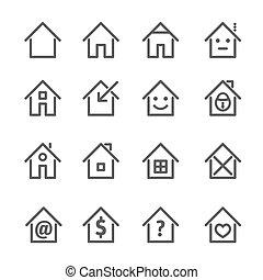 セット, illustration., 家, 灰色, ベクトル, 家, icon.