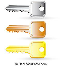 セット, illustration., 家, icons., ベクトル, キー