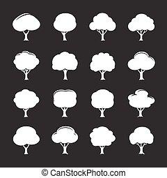 セット, illustration., 木, ベクトル, 白, icon.