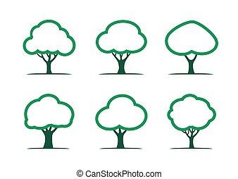 セット, illustration., 木, ベクトル, 緑, icon.