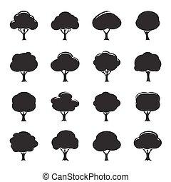 セット, illustration., 木, ベクトル, 黒, icon.