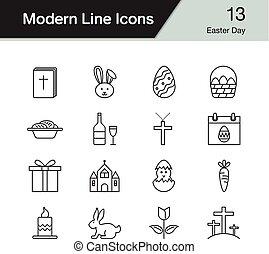 セット, illustration., 現代, 13., icons., ベクトル, デザイン, 線, イースター