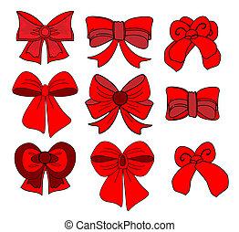 セット, illustration., 贈り物, 大きい, お辞儀をする, ベクトル, ribbons., 赤