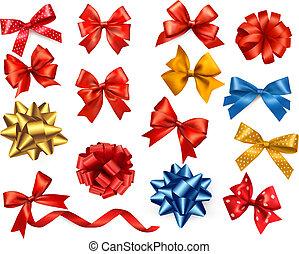 セット, illustration., 贈り物, 大きい, 色, お辞儀をする, ベクトル, ribbons.
