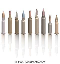 セット, illustration., 銃弾, 等大, ベクトル, カートリッジ, photorealistic
