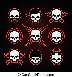 セット, illustration., 頭骨, 暗い, バックグラウンド。, ベクトル, ロゴ
