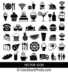 セット, illustration., 食物, icons., ベクトル, 黒