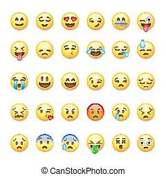 セット, illustration., emoticons, 隔離された, 背景, ベクトル, 白, emoji