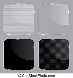 セット, illustration., frames., 現実的, ガラス, ベクトル