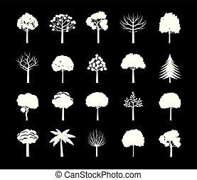 セット, illustration., icon., 白, ベクトル, 木