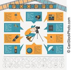 セット, infographics, 写真撮影