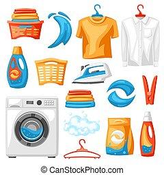 セット, items., 洗濯物, サービス, 専門家