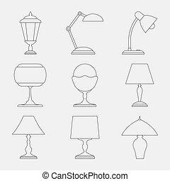 セット, lamps., アイコン