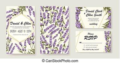 セット, lavender., 招待, イラスト, 優雅である, ベクトル, 結婚式