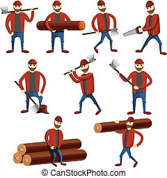 セット, lumberjack, アイコン, スタイル, 漫画