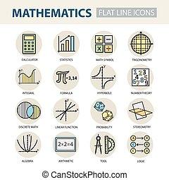 セット, math., アイコン, 現代, 薄いライン