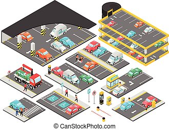 セット, multilevel, 等大, 駐車
