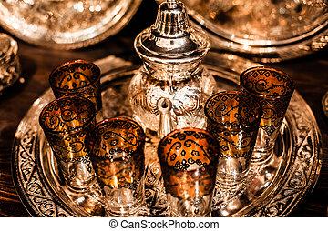 セット, nana, お茶ポット, 金属, アラビア, ミント, ガラス