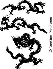 セット, ornament., 隔離された, ドラゴン, ベクトル, 東洋人, アジア人, tattoos.