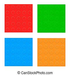 セット, patterns., seamless, プラスチック, ベクトル, コンストラクター, blocks.