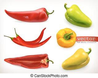 セット, pepper., ベクトル, 野菜, 3d, アイコン