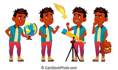 セット, positive., 葉書, educate., 予備選挙, activity., design., 隔離された, indian, vector., 男生徒, planet., イラスト, 発見しなさい, astronomy., 学生, 子供, 漫画, child., 男の子, 学校, 発表, カバー