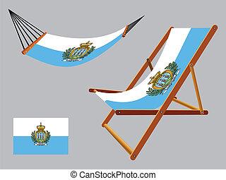 セット, san, デッキ, ハンモック, marino, 椅子