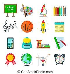 セット, school., 背中, イラスト, ベクトル, icons., 教育