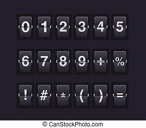 セット, scoreboard., シンボル, ベクトル, 数, 機械, template.
