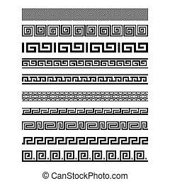 セット, seamless, コレクション, 装飾, パターン, ベクトル, ギリシャ, ボーダー, style., 要素