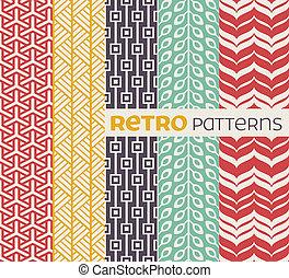 セット, seamless, パターン, ベクトル, レトロ, style.