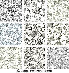 セット, seamless, パターン, ベクトル, 9, 花
