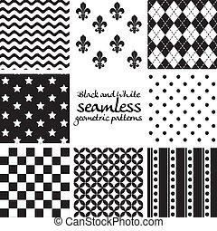 セット, seamless, パターン, 黒, 4, 白, 幾何学的