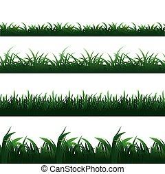 セット, seamless, ベクトル, 緑, ボーダー, 草