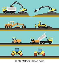 セット, seamless, 建設, 背景, 横, 道