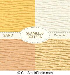 セット, seamless, 手ざわり, 砂, ベクトル, 背景