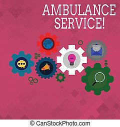 セット, service., 写真, 国民, 世界的である, 印, ネットワーキング, 緊急サービス, アイコン, gear., 健康, オンラインで, 概念, 車輪, カラフルである, 提示, 社会, 応答, 中, テキスト, コグ, 救急車, 翼