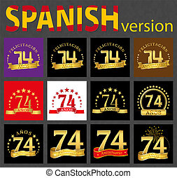 セット, seventy-four, 数, years), スペイン語, (74