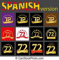 セット, seventy-two, 数, years), スペイン語, (72