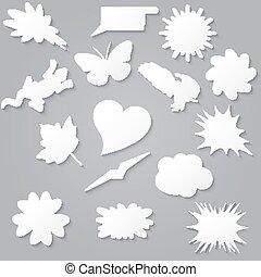 セット, shapes., コレクション, ペーパー, スピーチ, ブランク, 様々, 白, 泡, 空