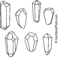 セット, shapes., 情報通, 背景, 最新流行である, crystals., 幾何学的