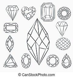 セット, shapes., 背景, logotypes., crystals., レトロ, 最新流行である, 情報通, 幾何学的