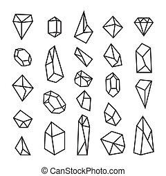 セット, shapes., 要素, crystals., logotypes, 最新流行である, デザイン, 幾何学的