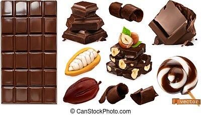 セット, shavings, チョコレートバー, ベクトル, chocolate., 小片, 3d, 現実的, hazelnuts., ココア, キャンデー, 豆