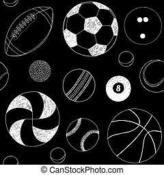 セット, sketch., 項目, seamless, 手, バックグラウンド。, ベクトル, 黒, パターン, included, 引かれる, balls., スポーツ, 白