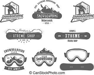 セット, snowboard, デザイン, patch., ロゴ, モノクローム, スポーツ, style., 山, 冬, 型, ラベル, レトロ, バッジ, 店, templates., badge., 紋章, 冒険, 極点, ベクトル, snowboarding, icon.