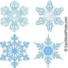 セット, snowflake., 薄片, の, 雪