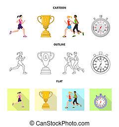 セット, stock., 勝者, シンボル。, ビットマップ, デザイン, フィットネス, スポーツ, アイコン