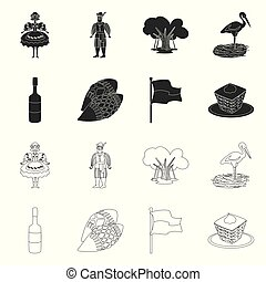 セット, stock., 印。, 伝統的である, 旅行, ベクトル, デザイン, ランドマーク, アイコン